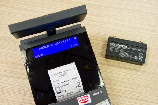 Drukarka fiskalna Novitus Bono E - Awaryjne zasilanie akumulatorowe